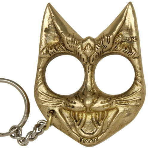 Self Defense Evil Cat Keychain Brass