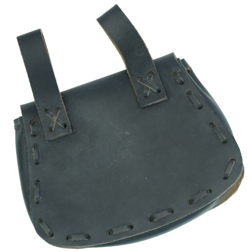 Medieval Blackened Leather Festival Pouch