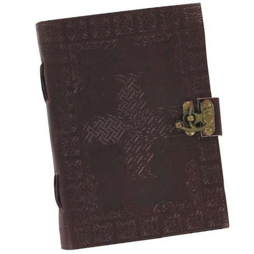 Handmade Knotted Weave Celtic Cross Leather Journal