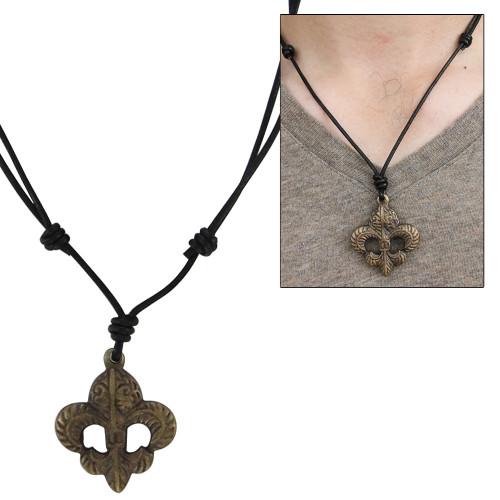 Brass Trinity Fleur de Lis Pendant