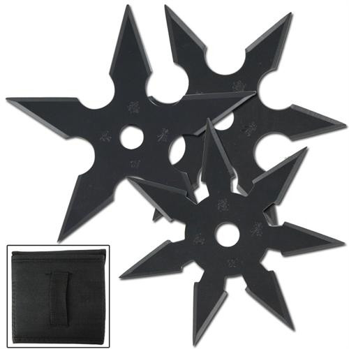 Khoga Ninja Sure Stick Throwing Star 3pcs Set Black
