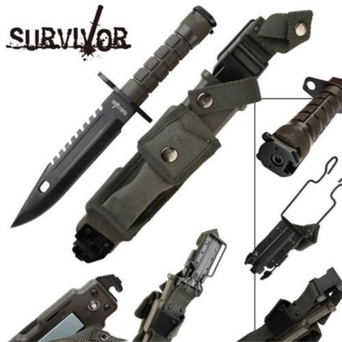 Survivor Special Ops Military Bayonet Knife Black