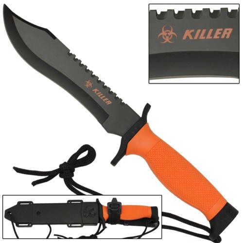 Corpse Orange Survival Bowie Knife