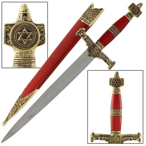 King Solomon Medieval Crusader Dagger Red