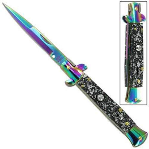 Mafia Italian Milano Stiletto Titanium Splash Automatic Knife