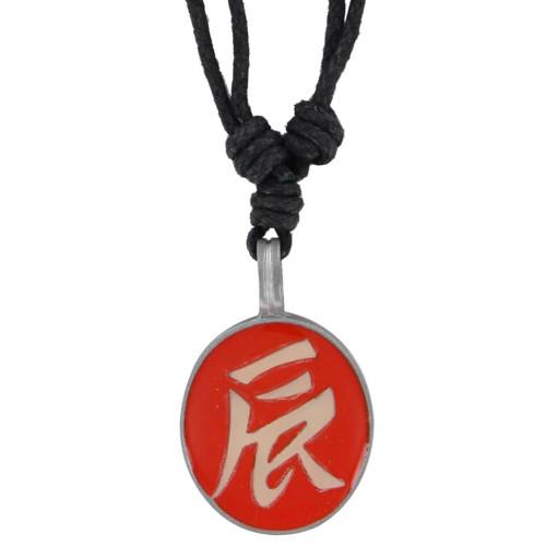 Ancient Asian Script Pewter Pendant Orange