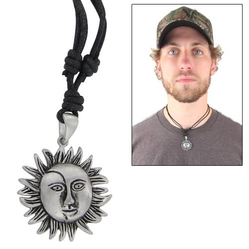 Sun & Moon Prosperity Pewter Pendant