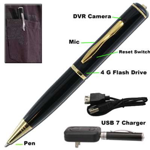 Spy Pen Video Recorder 4Gb USB Drive Gold