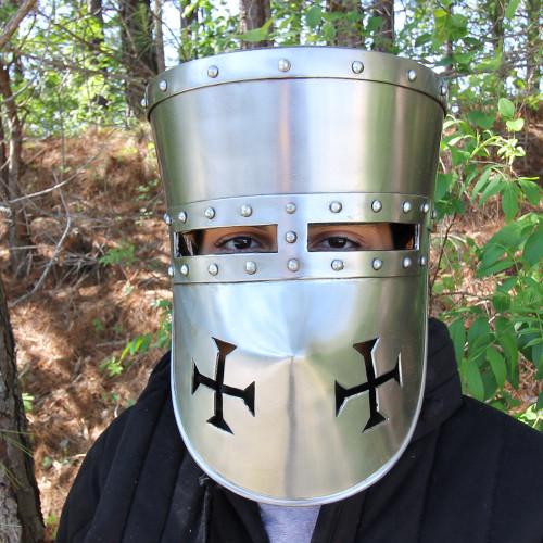 Crusader 16G Pot Helmet with Templar Face Guard