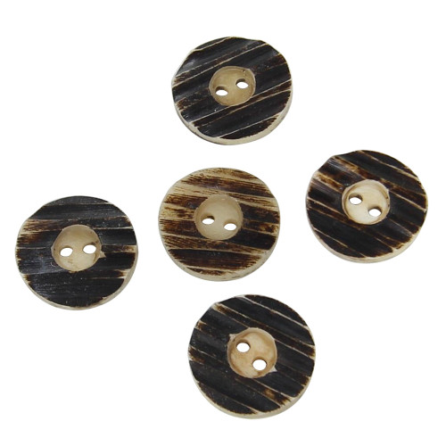 Handmade 5 Piece Ribbed Horn Button Set