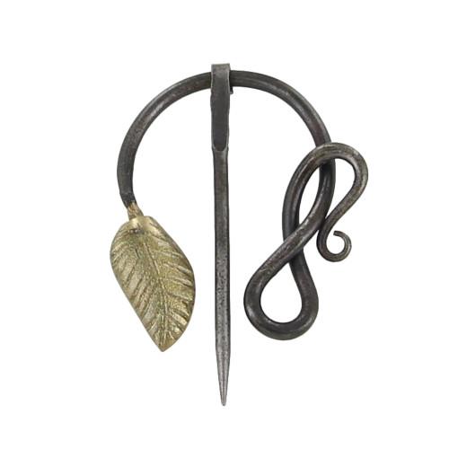 Golden Leaf Forged Penannular Medieval Brooch