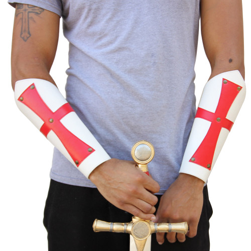 Knights Templar Medieval Leather Bracers