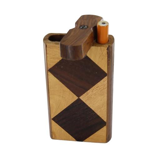 Handmade Harlequin Wood Tobacco Case Dugout