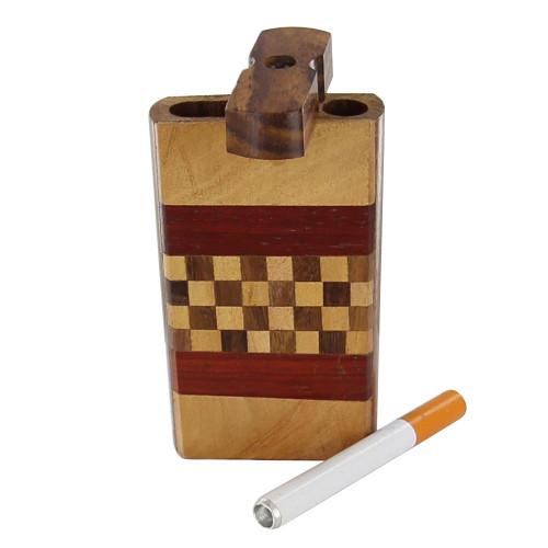 Wooden Cigarette Check Mate Tobacco Case Dugout