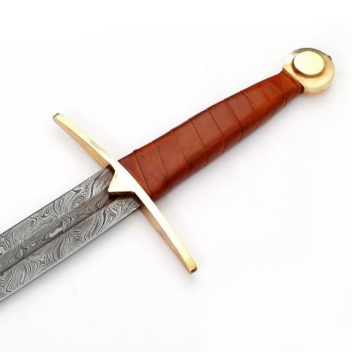 Full Tang Wolfskin Raider Damascus Steel Viking Sword