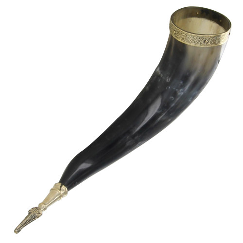 Norse Algiz Protection Handmade Drinking Horn