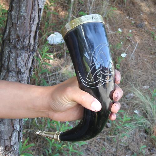 Viking Horns of Odin Medieval Drinking Horn Stand Set