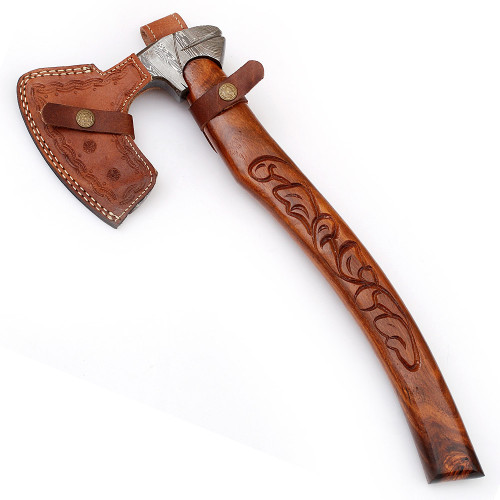 Guiscard Hand Forged Bearded Damascus Outdoor Steel Axe