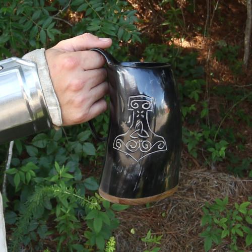 Drinking Horn Tankard With  Mjolnir Desgin