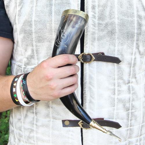 Brass tip  Drinking Horn With Jormungandr