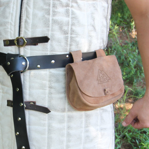 Suede Leather Bag  With Viking Design on Flap