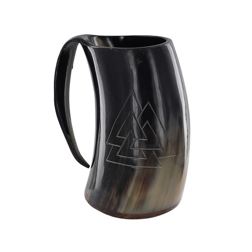 Toast to the Fallen Valknut Engraved Drinking Horn Mug
