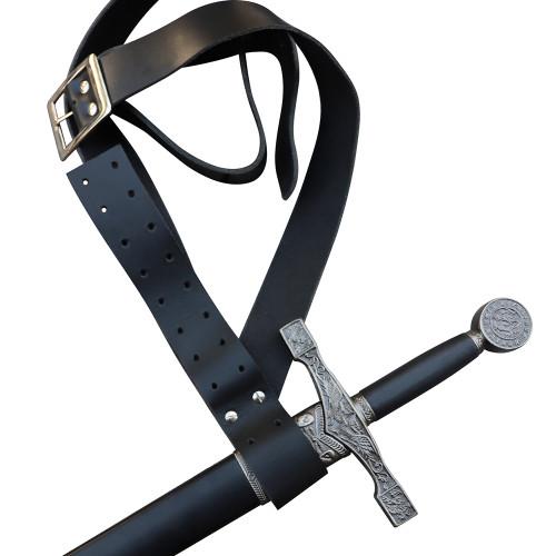 Honorable Swordsmen Genuine Black Leather Adjustable Baldric Belt