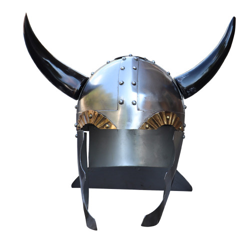 Viking Leader 18 Gauge Steel Helmet with Horns