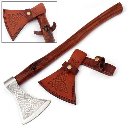 Herleifr Traditional Medieval Viking Battle Axe | Engraved Handle |