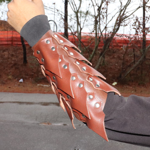 Drogo's Wrath Medieval Adjustable Leather Scaled Arm Bracer | Brown |