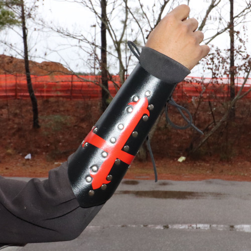 Holy Warrior Medieval Lace Up Leather Bracer | Black and Red |