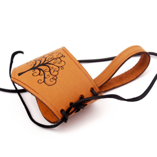 Adjustable Leather Drinking Horn Frog Holster Holder Accessory | Tan and Black |