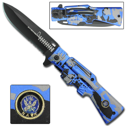 Navy AR-15 Gun Spring Assisted Knife