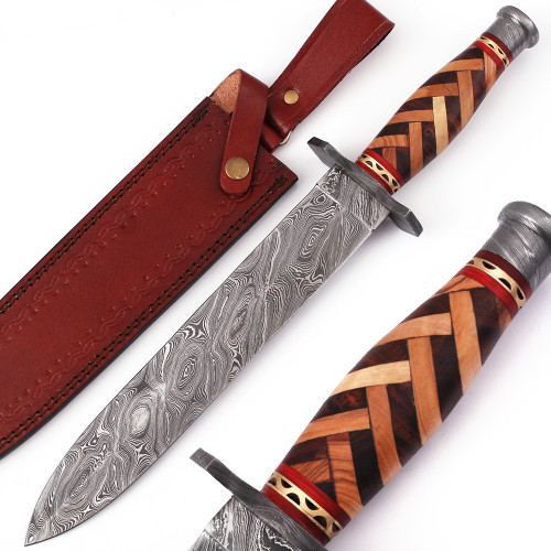 Arabian Nights Damascus Steel Dagger with Leather Sheath