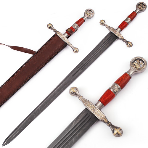 Saint George the Dragon Slayer Damascus Steel Medieval Sword