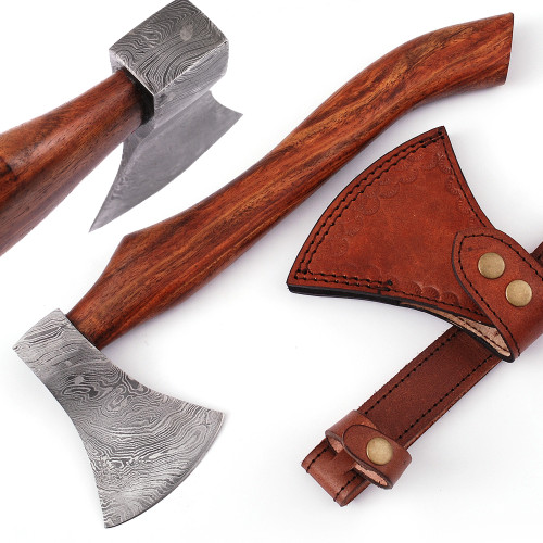 Elite Woodsman Damascus Steel Outdoor Camping Hatchet Axe