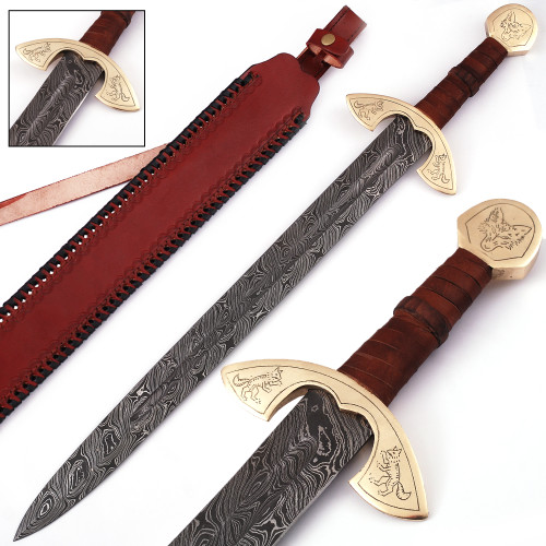UlfSune Fang of the Beast Damascus Steel Viking Sword