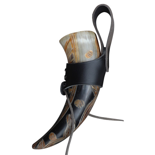 Sacred Tree of Life Drinking Horn with Holster