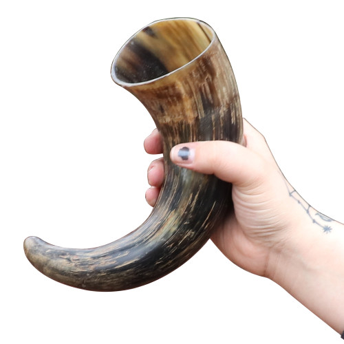 Distressed Raider Viking Drinking Horn with Leather Holster