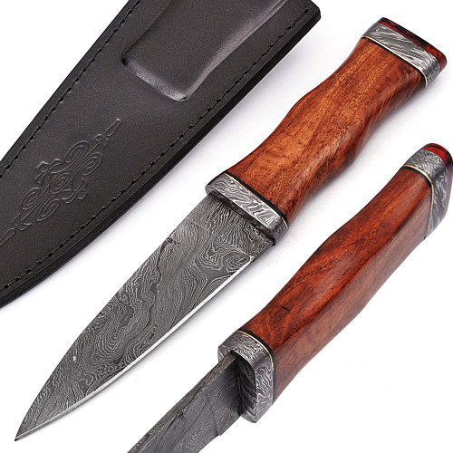 Radicals Prophecy Spear Point Hunting Knife Contoured Wooden Handle Sheath Included