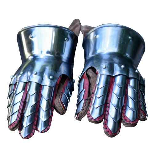 Dragon Hunter Medieval Steel Practice Gauntlets Leather Gloves Included