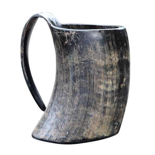 The Hooded Raven ™ Distressed Raider XXL Viking Drinking Horn Tankard Mug [2XL]