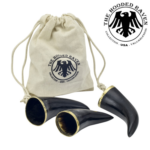 The Hooded Raven ™ 3-Piece Drinking Horn Shot Set Canvas Bag Carrier Included