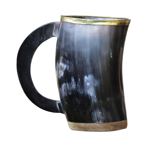 The Hooded Raven ™ Functional Pure Brass Rimmed Drinking Horn Mug Tankard Pouch Included