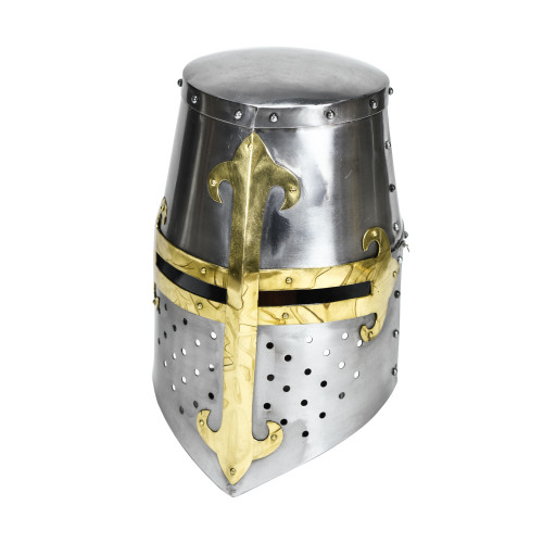Knights Templar Brass Trimmed Crusader Practice Helmet Without Liner