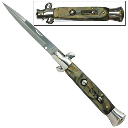 IL Grande Italian Milano Stiletto Silver Agate Automatic Knife