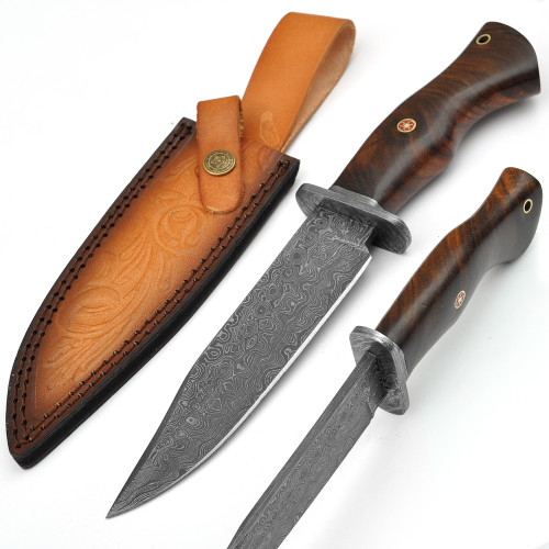Damascus Steel East Indian Rosewood Handle Fixed Blade Hunting Knife
