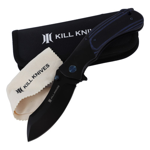 KILL KNIVES™ Blue Racer Heavy Duty Ball Bearing Spring Assisted Nessmuk Blade Pocket Knife