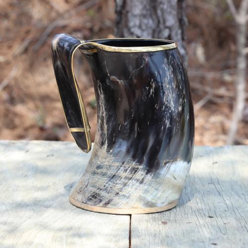The Hooded Raven™ XXL Viking Royal Brass Rimmed Natural Buffalo Drinking Horn Tankard Mug