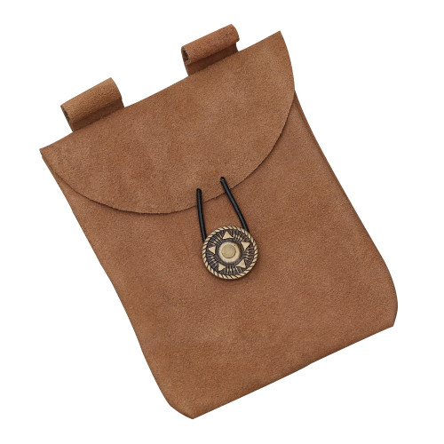 Medieval Renaissance Leather Camel Brown Suede Pouch